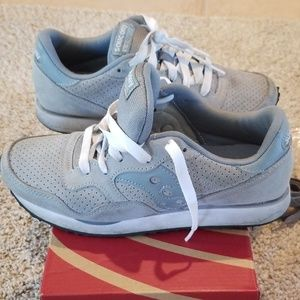 Madewell Saucony DXN sneakers in gray suede